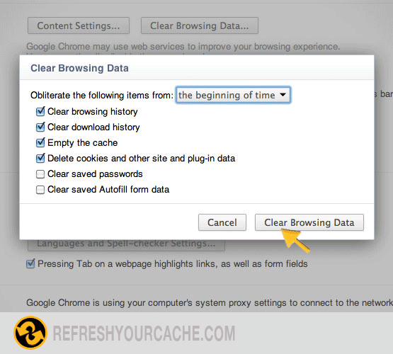 Refresh your cache in Chrome 10-15 - Refreshyourcache com