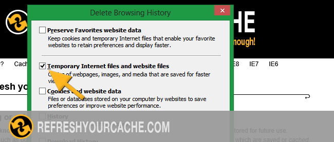 Refresh the cache for Internet Explorer 10