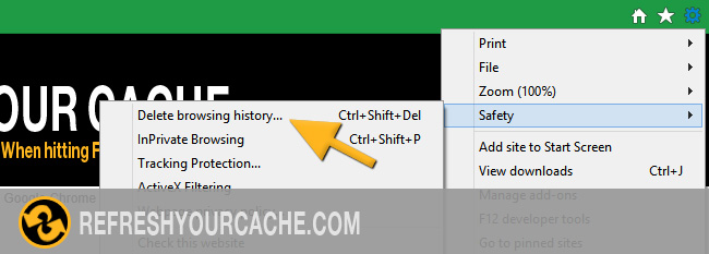 Refresh the cache for Internet Explorer 11