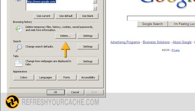 clearing cache on internet explorer