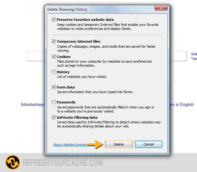 Refresh your cache for internet explorer 8 refreshyourcache step 4 click delete to finish ccuart Choice Image