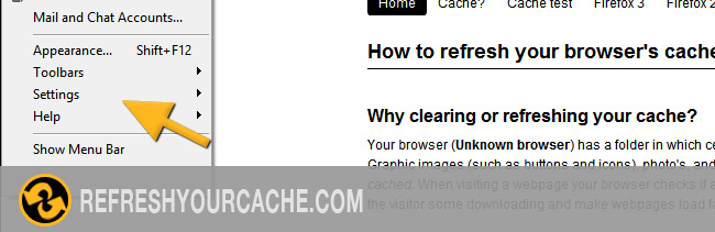 Refresh your cache for Opera 12 on Mac & PC