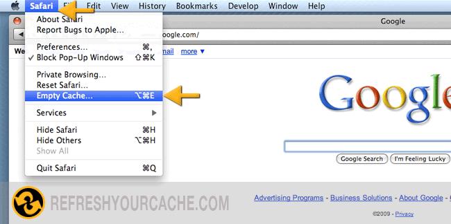 Refresh your cache for safari 5 on mac pc refreshyourcache safari stap 1 mac ccuart Image collections