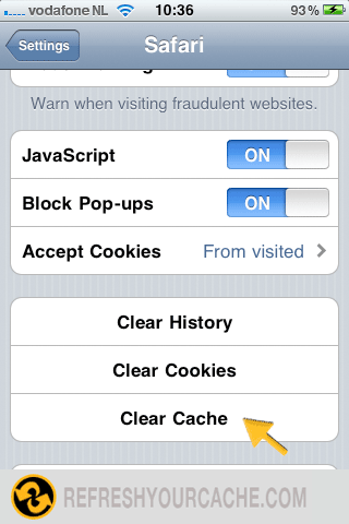 Refresh the cache for safari mobile on ios refreshyourcache safari mobile step 3 ccuart Image collections
